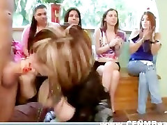 Group of amateur hot CFNM girls suck and play with naked strippers cock