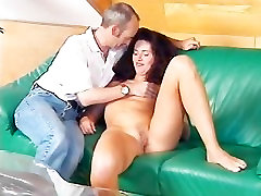 Lucky old man shares oral sex with a xxxnu hd brunette