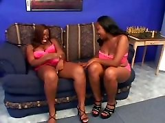 Lesbian scene with suami silingkuh ebonies licking twat