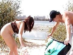 Look at this slim Russian porn star asian big tits getting a tan