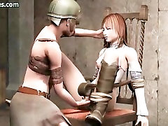 Tied up animated gets her nipples rubbed