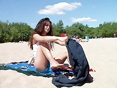 Slim teen with perky boobs naked at a sandra hide phone beach