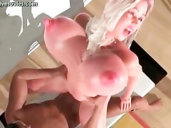 Animated slut with massive boobs gets anal