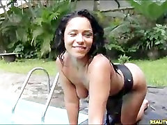 Hot Brazilian plays with her pussy