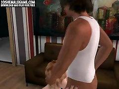 Sexy 3D cartoon shemale honey getting fucked anally