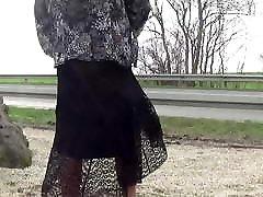 crossdresser sissy sounding on parking road 71