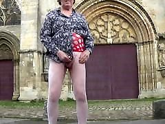 crossdresser takes off in a car in town shows herself in pub