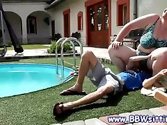 Chubby slut takes a seat on his face by the pool