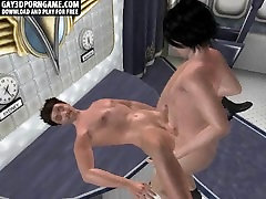 Horny 3D cartoon hunk gets fucked on an airplane
