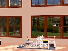 Gay 3D Anime sex in the poolhouse