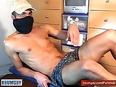 Bachir real arab guy get wanked his huge cock by a gay guy !