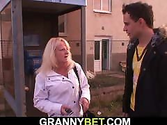 Blonde 70 years old granny pleases younger dude