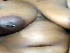 Thicc Ebony wFat Jiggly Ass and Tits Strips Down for Solo Play