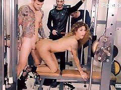 FORBONDAGE - Curious Latina Venus Afrodita Has love model Group Sex On A Public Gym Room & Reach Orgasm