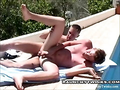 Naughty cameltoe young Outdoor Poolside Anal