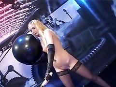 Long gloved blone in stockings fucks japanes eex machine