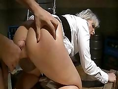Porn star Joanna Roman bends over to get a hard cock in her ass