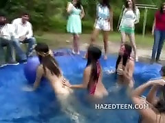 Smoking hot teen girls naked in a pool