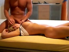 Beautiful blonde making love with her man