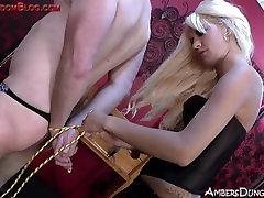 Tall blonde femdom strapon masturbation