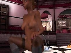 She is a sexy 3D ebony babe who is getting fucked hard