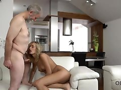 OLD4K. Tea and hot sex is how chick starts day with her old husband