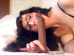 Sexy mom hiry MILF Gives Sloppy Blowjob to BBC Dildo - Pinup PAWG