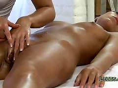 Lesbians massage clits to each other