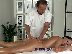 Massage Rooms Young black haired beauties enjoy creampie and deep climax