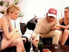 Blonde spanks the talks into sucking her pussy intruder