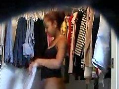 Hot black teen dressing up on hidden cam