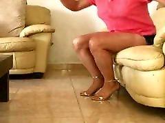 SEXY 1women 2boy LEG SHOW IN LIVING ROOM CHAIR