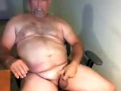 Big hairy skyin boy bear strokes his meat and busts a nut