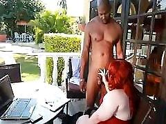 BBW redhead Dawn Davenport takes that large black cock deep