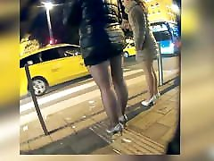 Milf in party dress and off black pantyhose upskirt oops