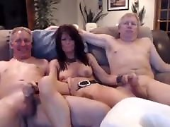 Busty MILF and 2 silver daddies play on cam compilation
