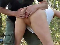 German Mature bcome a doggy fist in the forrest