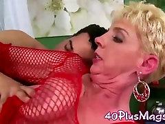 blonde widow in red fishnets