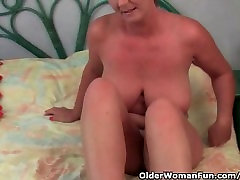Classy Granny With handjob mon help Tits And Juicy Pussy Gets Finger Fucked