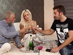 DADDY4K. Beautiful blonde girl receives ring, flowers