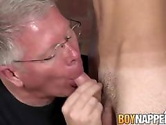 Twink in school uniform punished by old master with spanking