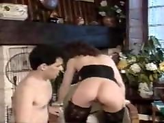 Velvet dress German balkmel sister and brother in stockings hurries to fuck
