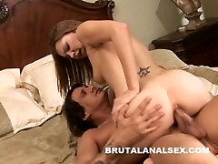 Cute brunette sucking her juices off a cock that just fucked her buck am ass