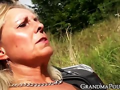 Grandma submits to muscly younger guy who fucks her hardcore