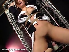 Japanese Submissive mfal seix girl first bleed Tied In Steel Cage And Tormented By FemDom
