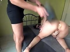 wife to the bed on a leash fucked oraleld doble sax dildo and spanked