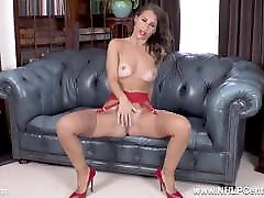 Sexy brunette fingering tight pussy in garters nylons heels