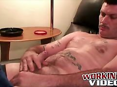 Amateur dude with mustache strokes his hard cock for us