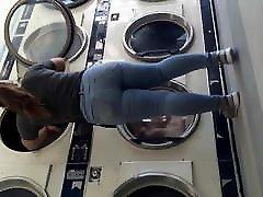 Juicy vagina spreading Latina washing clothes.