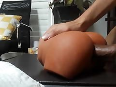 Forcing my big cock in my new kristal may toy